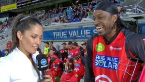 Chris Gayle during his infamous interview with Mel McLaughlin.