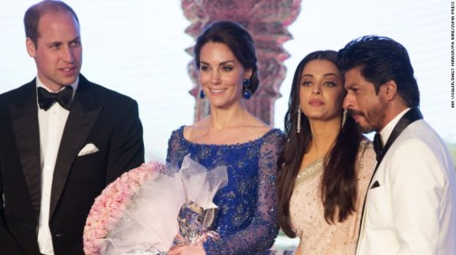 Prince William and Catherine, the Duke and Duchess of Cambridge, pose on stage with Aishwarya Rai Bachchan, third from left, and Shah Rukh Khan at a Bollywood Charity Gala hosted by the British High Commission and the British Asian Trust at the Taj Mahal Palace hotel in Mumbai on Sunday, April 10, during the first day of the royal tour to India and Bhutan.