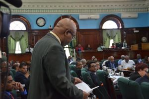 PPP/C MP Juan Edghill addressing the National Assembly today