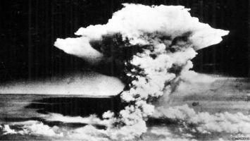 A mushroom cloud over Hiroshima following the explosion of an atomic bomb