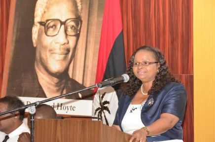Minister of Social Protection, Ms. Volda Lawrence delivering her presentation on the former President, the late Mr. Hugh Desmond Hoyte at the Pegasus Hotel