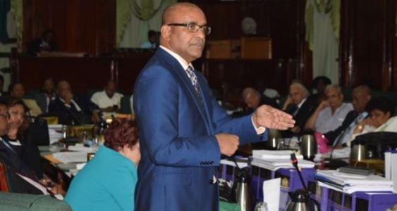 Opposition Leader Dr Bharrat Jagdeo addressing the National Assembly (Steve Balgobin photo)