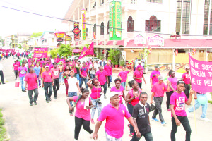 GAWU workers marching on Sunday