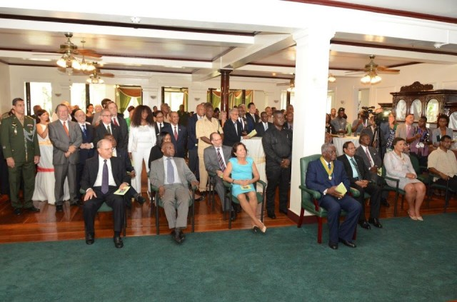 The gathering at State House- Seated in the front row right are: Minister of Public Security, Khemraj Ramjattan, Commonwealth Secretary General, Baroness Patricia Scotland, Prime Minister Moses Nagamootoo, Prime Minister of Barbados, Freundel Stuart, First Lady Mrs. Sandra Granger, Minister of Foreign Affairs, Carl Greenidge and another dignitary.
