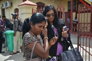 Babita Sarjou's mother in tears outside the court this morning (Carl Croker photos)