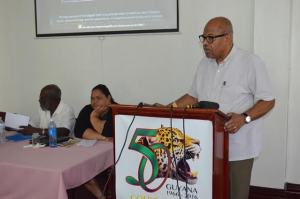Vibert Cambridge, Professor Emeritus, School of Media Arts and Studies, Ohio University, addressing the Digital Tent Guyana launch