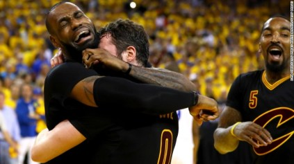 LeBron James, left, hugs Kevin Love after the Cleveland Cavaliers won Game 7 of the NBA Finals on Sunday, June 19. Cleveland defeated the Golden State Warriors 93-89 for the first championship in franchise history. It is also the city of Cleveland's first major sports title since 1964.