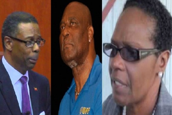 UPP political leader and former finance minister Harold Lovell (left) along with former education minister Senator Dr. Jacqui Quinn-Leandro (right) and former health minister Wilmoth Daniel (centre) will appear in court next week.