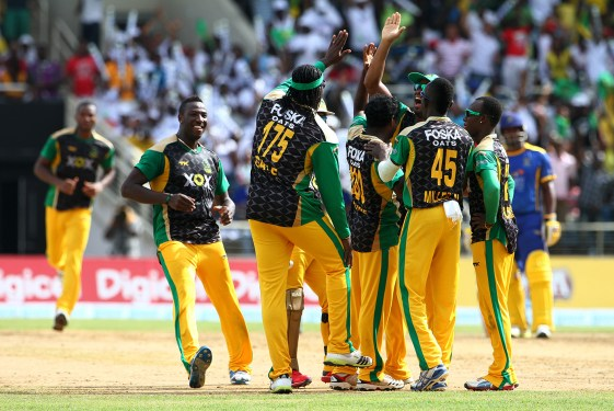 Jamaica Tallawahs players celebrating the fall of a wicket in a previous CPL match (Photo from CPLT20.com)
