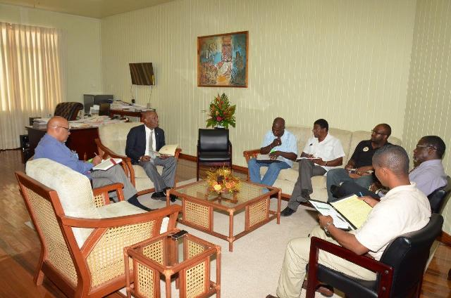 Minister of State, Mr. Joseph Harmon conducting Mocha Arcadia development meeting with community representative and government officials, today at the Ministry of the Presidency. (GINA photo)