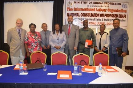 Mrs  Volda Lawrence, Minister of Social Protection, and Lorene Baird, Permanent Secretary,  Ariel Pino, ILO's Senior Specialist, Social Protection and Occupational Safety, Dr. Shal Gewurtz, Health and ILO consultant, Norris Witter, President of the Guyana Trades Union Congress , and Samuel Goolsarran, Consultant, Consultative Association of Guyanese Industries  at the National Consultation on the proposed draft regulation for Occupational Health and Safety  in the manufacturing sector.