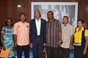President Granger with Pastor Ewart  and other members of the Temple church yesterday