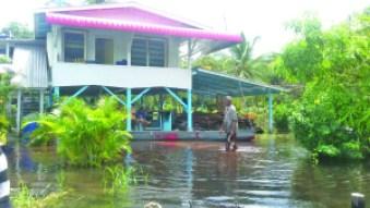 A flooded yard