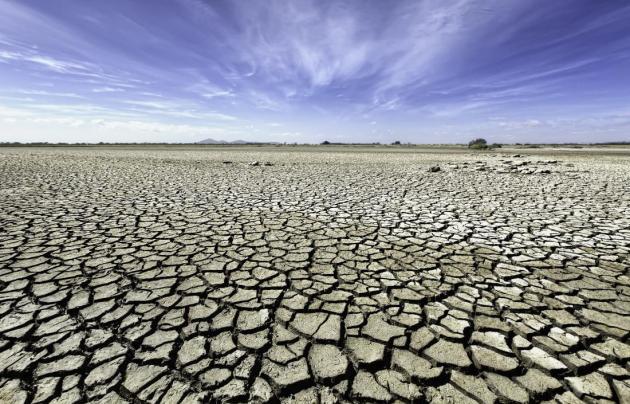 Australia, Victoria, Barren plain with parched soil