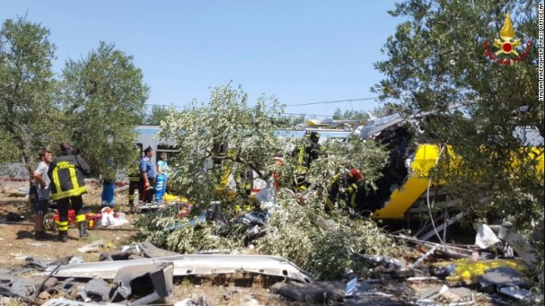 The crash happened about 7 kilometers east of the city of Andria. (CNN photo)