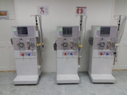 Three of the eight dialysis machines donated to the Georgetown Public Hospital Corporation (GINA photo)