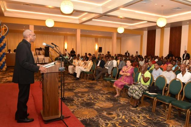 President David Granger addressing the invitees at the launch of the Victoria Regia Quartet's National Songs album.  (GINA photo)