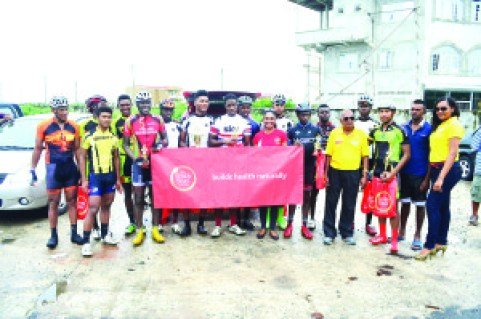 Top performers and officials at the end of the exciting road race