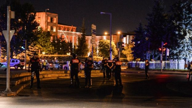 Police were standing guard outside the Turkish military HQ in Ankara (Getty Images)