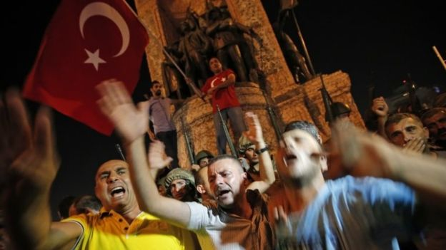 Erdogan supporters gathered on Istanbul's Taksim Square for a protest rally (AP photo)
