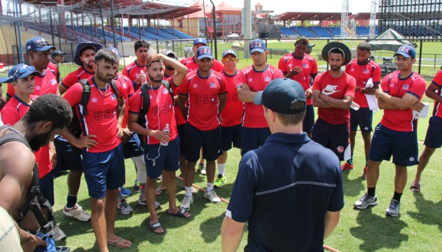 ICC Americas high performance consultant Tom Evans speaks to USA players at their training camp in Lauderhill(Peter Della Penna photo)
