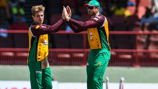 Adam Zampa and Martin Guptill had solid days with bat and ball respectively for Guyana (CPL/Sportsfile)