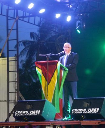 Mnister of Business Dominic GAskin while delivering remarks at the opening of the Berbice Expo
