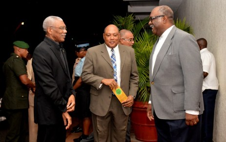 President David Granger shares a light moment with Minister of Natural Resources, Mr. Raphael Trotman (centre) and Commissioner (acting) of the Guyana Geology and Mines Commission (GGMC) Mr. Newell Dennison, upon his arrival at the Pegasus Hotel, earlier this evening.