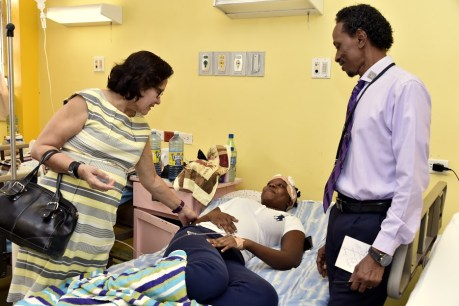 First Lady, Mrs. Sandra Granger extends wishes for a speedy recovery to Presidential Guard, Constable Jamelle Joseph who a patient in the Georgetown Public Hospital Corporation.