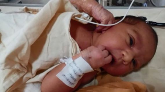 An incubator in the nursery of India's premier medical institute in Delhi has been home to a tiny infant for the past few days.