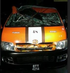 The minibus involved in the accident (Sultan Haniff photo)