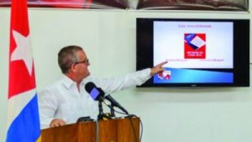 Cuban Ambassador Julio Marchante making his presentation at the press briefing on Thursday