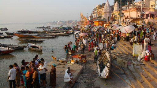 The Ganga, or Ganges River, flows through the holy city of Varanasi, here in 2013. (CNN photo)