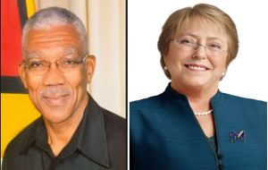 President of Guyana David Granger and President of Chile Michelle Bachelet