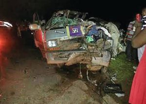 The mangled minibus involved in last evening's deadly crash