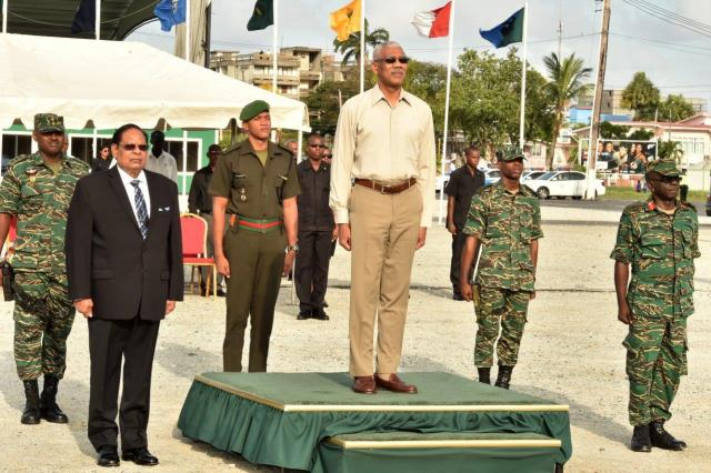 President David Granger was joined by Prime Minister Moses Nagamootoo and the Chief of Staff of the Guyana Defence Force (GDF), Brigadier George Lewis to receive the salute during the army's 51st Anniversary Route March.