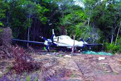The abandoned twin-engine Cessna aircraft found just off the Yupukari Airstrip
