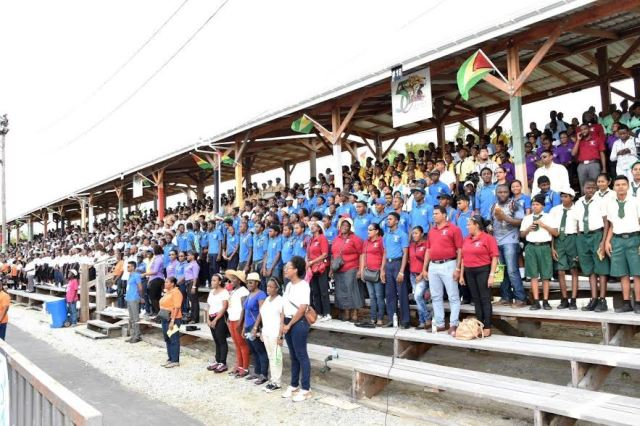 School children from various schools and institutions across the city fill the bleachers at D'urban Park for the Education Month Rally 2016.