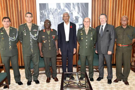 Colonel Emerson DaSilva, Colonel Oswaldo DaSilva, Chief of Staff of the Guyana Defence Force, Brigadier George Lewis, President David Granger, Military Commander of the North of the Brazilian Armed Forces, General Carlos Alberto Neiva Barcellos, Brazilian Ambassador to Guyana, Mr. Lineu Pupo De Paula and Major Meer Khan of the GDF.