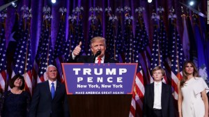 President-elect Donald Trump delivers his acceptance speech at his election night event in New York City on Wednesday, November 9. (CNN photo)