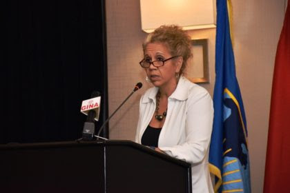 IDB  Country representative, Sophie Makonnen at the presentation of the final results of the Guyana –Brazil market study for the land transport link and deep water port project
