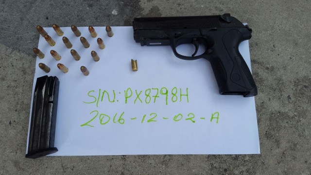 The Bandit dropped his 9mm Beretta pistol with sixteen (16) live matching rounds