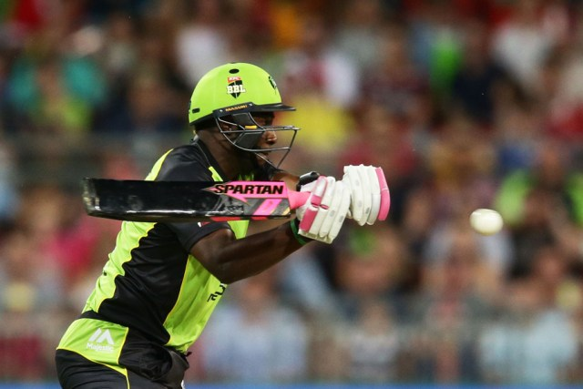 Andre Russell scored 9 off 7 balls with a black bat in the Big Bash League opener (Photo: Cricket Australia)