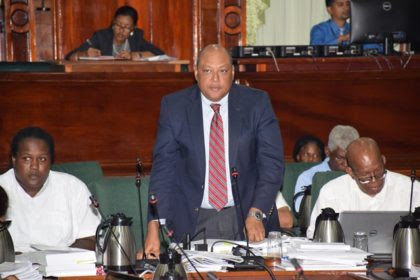 Minister of Natural Resources Raphael Trotman defending the allocations to his ministry in the National Assembly