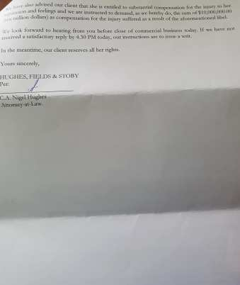 The letter sent to Gail Teixeira