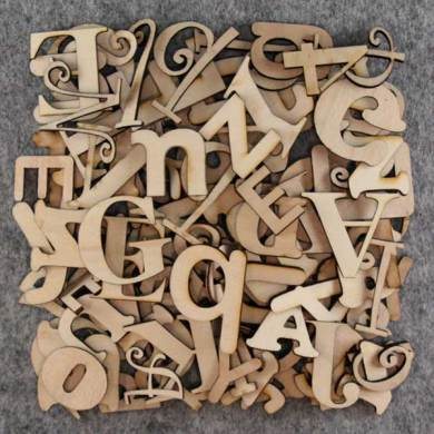 Mixed Individual Letters 3mm Plywood 75 gramms 2 5cm Size Mixed Fonts