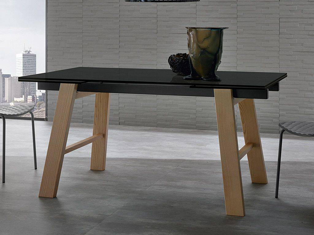 Queen Glass Extending Table With Legs In Wood