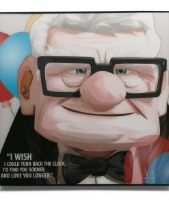 "Carl Fredricksen Pop Art Poster from Movie Up, by Keetatat Sitthiket. ""I wish I could turn back the clock, I'd find you sooner and loved you longer"""