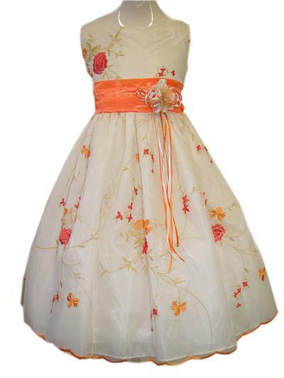 Orange Flower Dress Angel Infant