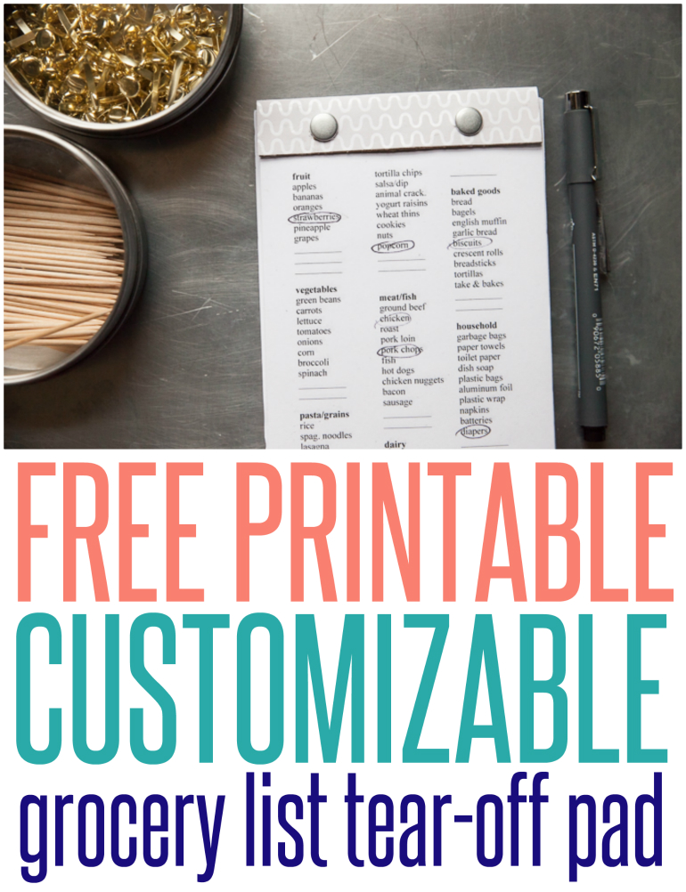 Printable Customizable Grocery List Tear Off Pad
